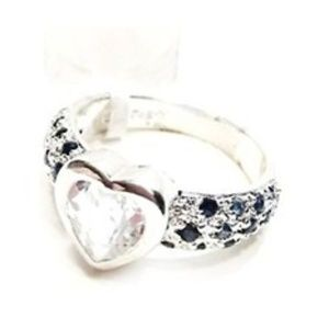 Macys Sterling Silver Zirconia Heart Ring Blue Sto